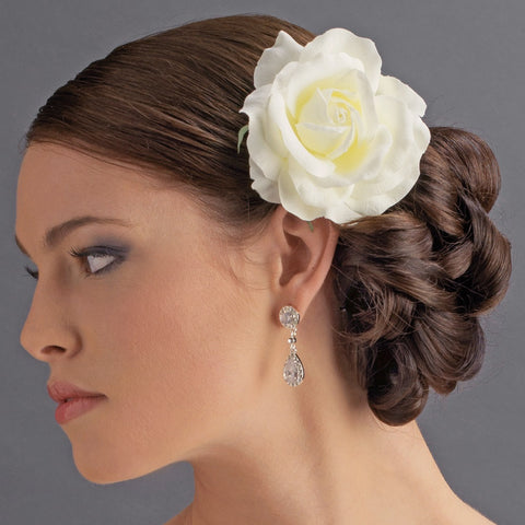 Classic Medium Diamond White Rose on Alligator Bridal Wedding Hair Clip 403