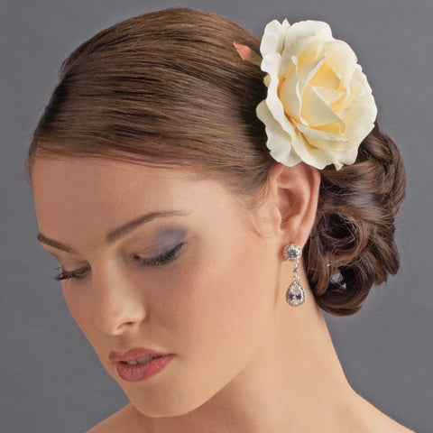 * Classic Butter Cream Rose Bridal Wedding Flower Bridal Wedding Hair Clip - Bridal Wedding Hair Clip 408