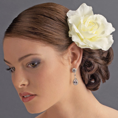 Classic Ravish Diamond White Rose Flower Bridal Wedding Hair Clip 416