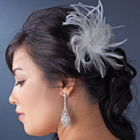 * Light Ivory Bridal Wedding Feather Bridal Wedding Hair Fascinator Bridal Wedding Hair Clip 440 wit Bridal Wedding Brooch Pin