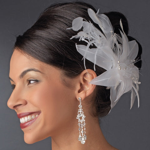 * Large Bridal Wedding Feather Bridal Wedding Hair Comb Headpiece 1538 White or Ivory