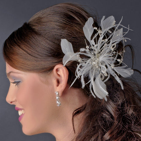 * White/Ivory Feather Fascinator Bridal Wedding Hair Comb 1539