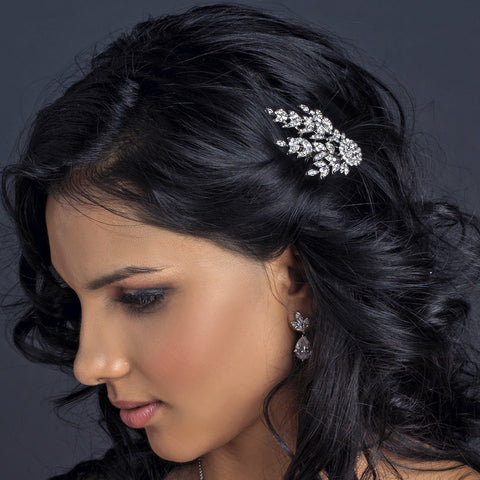 Rhodium Great Gatsby Inspired Floral Leaf Bridal Wedding Hair Comb 190