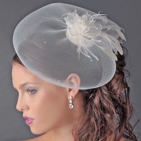 * Fine Tulle Visor Bridal Wedding Hat with Feather Flower Accent Attached to Bridal Wedding Hair Comb 2174