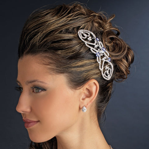 "Silver Clear & Blue Rhinestone Bella ""Twilight"" Bridal Wedding Hair Comb 5829"