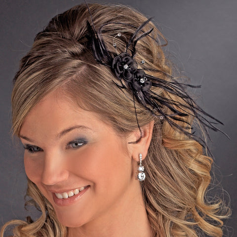 Black Headpiece 7025 Black - Feather Fascinator on Bridal Wedding Hair Comb