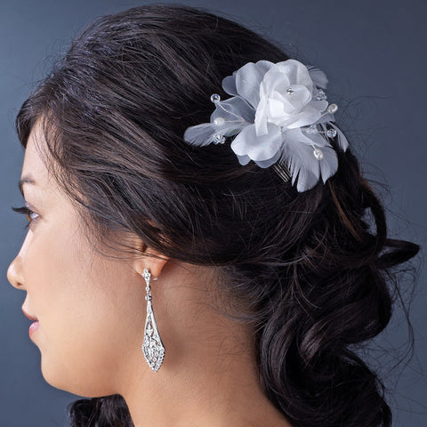 Floral Feather Bridal Wedding Hair Accent Bridal Wedding Hair Comb 8210