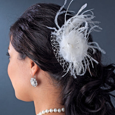Feather Fascinator with Russian Bridal Wedding Veiling Accent Bridal Wedding Hair Comb 8211