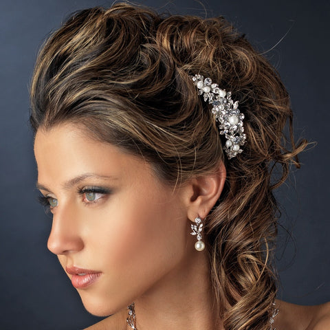 Marvelous Silver Floral Bridal Wedding Hair Comb w/ Clear Rhinestones & White Pearls 8280