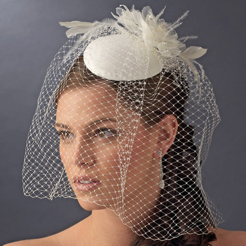 Vintage White or Ivory Bridal Wedding Hat w/ Bird Cage Face Bridal Wedding Veil & Flower Adornment 8307