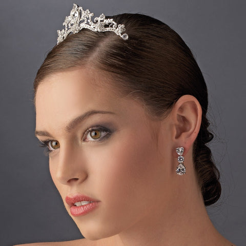* Silver Princess Flower Rhinestone Bridal Wedding Tiara Bridal Wedding Hair Comb 8358