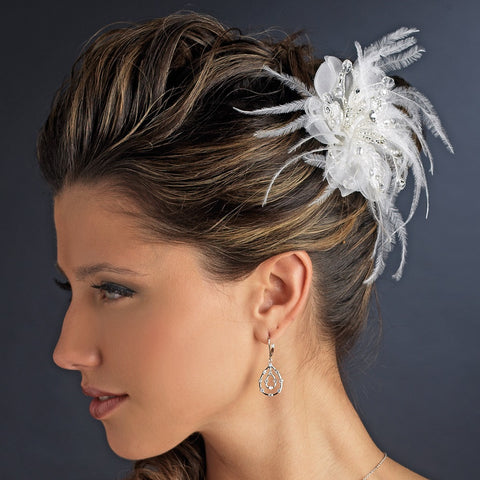 Delicate Feather Flower Bridal Wedding Hair Accessory Bridal Wedding Hair Comb 8391 Ivory or White
