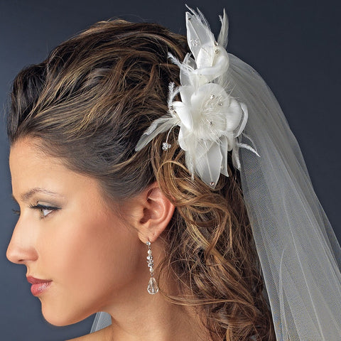 Feather Flower Bridal Wedding Hair Comb Adorn with Swarovski & Rhinestones Bridal Wedding Hair Comb 8397 Ivory or White