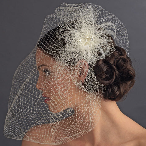 Russian Tulle & Feather Fascinator & Birdcage Bridal Wedding Veil on Bridal Wedding Hair Comb in White or Ivory 8399