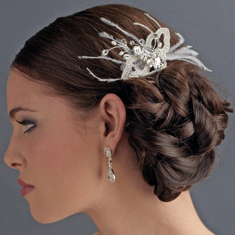 * Gorgeous White Butterfly Bridal Wedding Hair Comb with Feathers & Rhinestones 8419