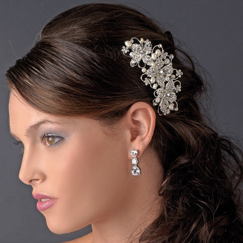 Light Gold Freshwater Pearl & Rhinestone Wired Floral Bridal Wedding Hair Comb 9814