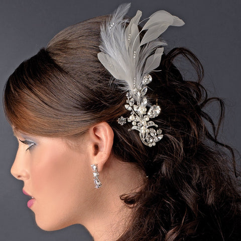 * Vintage Silver Clear Crystal Bridal Wedding Hair Comb w/ White Feathers 9824