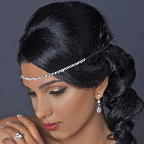 Silver Clear Rhinestone Swirl Stretch Black Bridal Wedding Elastic Headband HP 1266