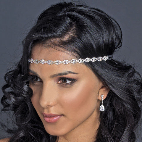 Silver Clear Rhinestone Bridal Wedding Hair Bridal Wedding Elastic Headband 167