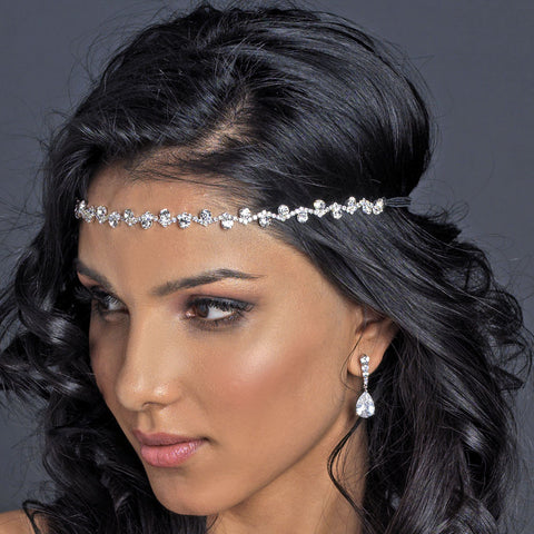Silver Clear Rhinestone Bridal Wedding Hair Bridal Wedding Elastic Headband 247