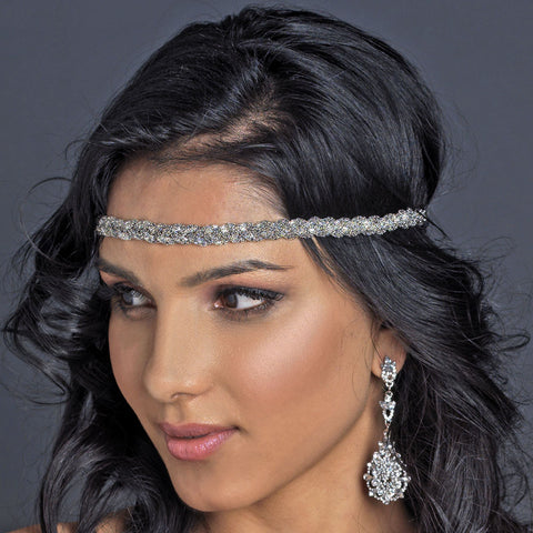 Silver Metal Bridal Wedding Hair Bridal Wedding Elastic Headband 288