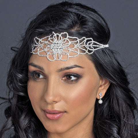Silver Clear Rhinestone Floral Bridal Wedding Hair Bridal Wedding Elastic Headband 369
