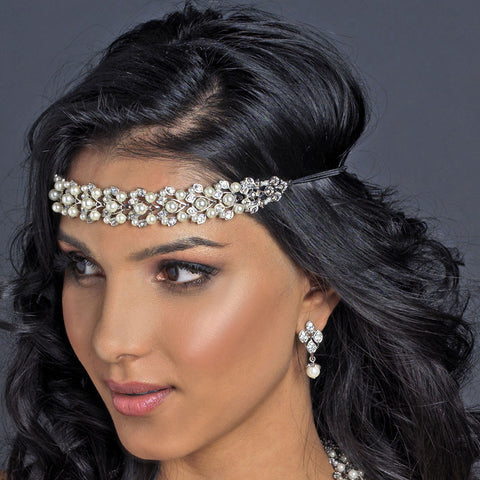 Rhodium Diamond White Pearl & Rhinestone Black Bridal Wedding Elastic Headband 4