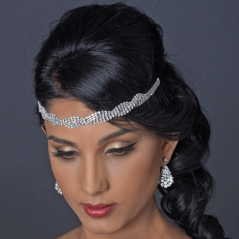 Silver Clear Rhinestone Stretch Black Bridal Wedding Elastic Headband 1248