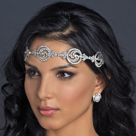 Rhodium Clear Rhinestone Modern Bridal Wedding Headband