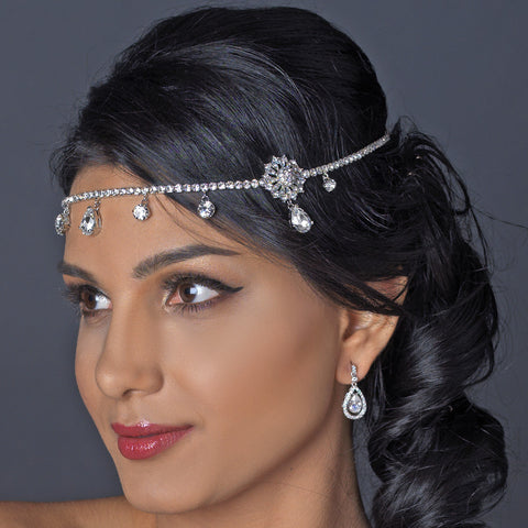 Antique Silver Clear Rhinestone Kim Kardashian Inspired Floral Bridal Wedding Headband Headpiece 1863
