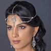 Antique Rhodium Silver Diamond White Pearl & Rhinestone Teardrop Forehead Headpiece 1867