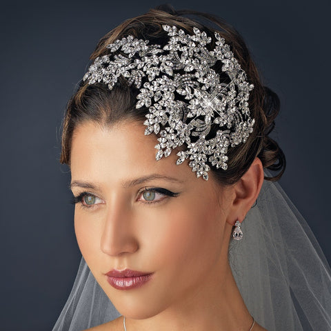 Vintage Couture Leaves Side Accented Crystal Bridal Wedding Faceframer Bridal Wedding Headband 19255