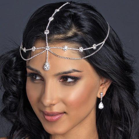Kim Kardashian Inspired Forehead Chain Teardrop Rhinestone Bridal Wedding Headband 317***Discontinued***