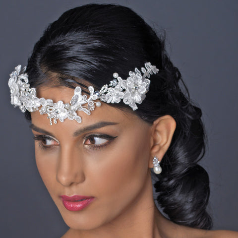 Silver Ivory Floral Lace Bridal Wedding Side Headband with Pearl, Swarovski Crystal, Rhinestone & Sequin Accents