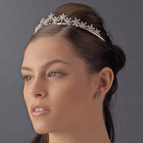 * Light Amethyst Winter Snowflake Bridal Wedding Tiara HP 5439