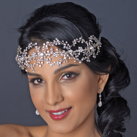 Rhodium Clear Rhinestone Handmade Wired Bridal Wedding Headband 6352