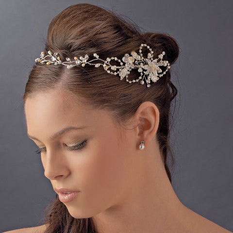 Elegant Vintage Bridal Wedding Hair Vine with Side Accents HP 7711