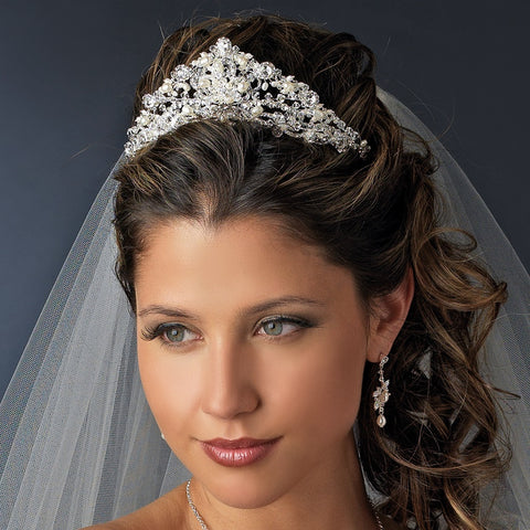 Swarovski and Freshwater Pearl Bridal Wedding Tiara HP 7825