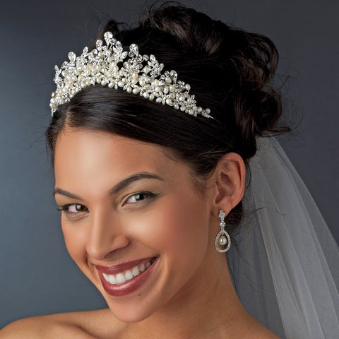 Freshwater Pearl and Rhinestone Bridal Wedding Tiara HP 8126