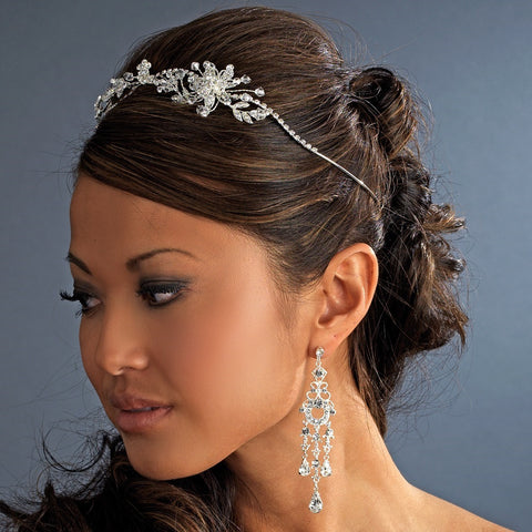 * Crystal Bridal Wedding Headband with Side Accent HP 8222
