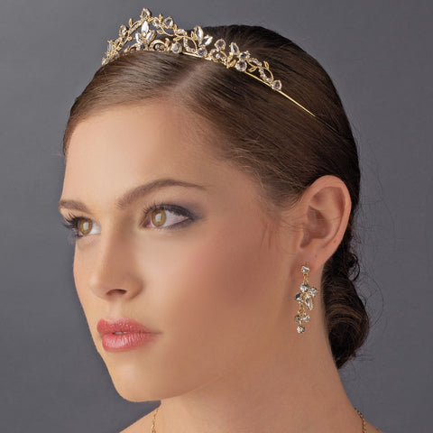 Light Gold Clear Bridal Wedding Tiara Headpiece 8312