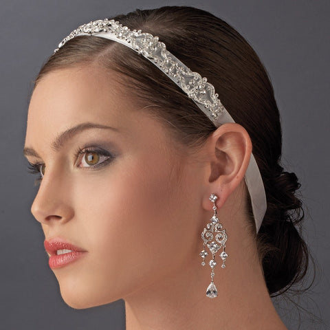 Vintage Ribbon Bridal Wedding Headband with Rhinestone Accents HP 8362