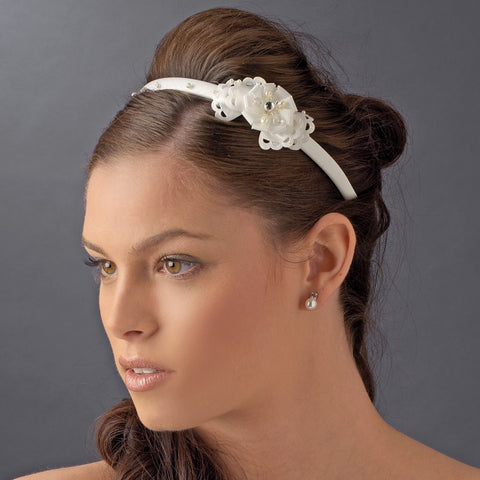 * Ivory Bridal Wedding Headband with Flower Side Accent HP 8392