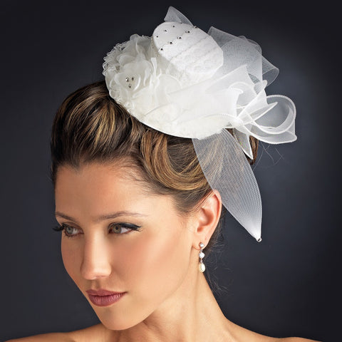 Floral Bridal Wedding Top Hat Headpiece 872 (White or Ivory)