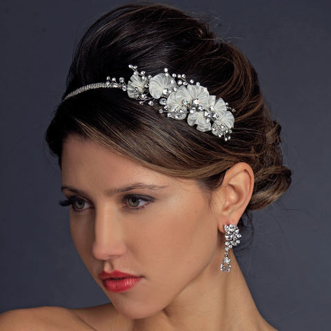 Vintage Inspired Ivory Antique Silver Rhinestone Bridal Wedding Headband HP 938