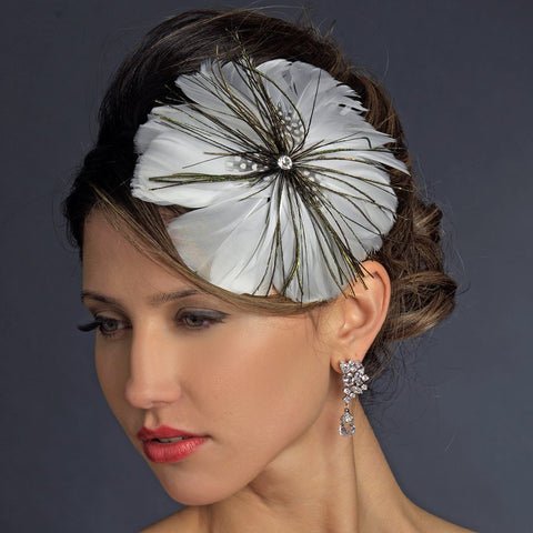 * White Peacock Feather Side Accented Bridal Wedding Headband Headpiece 954