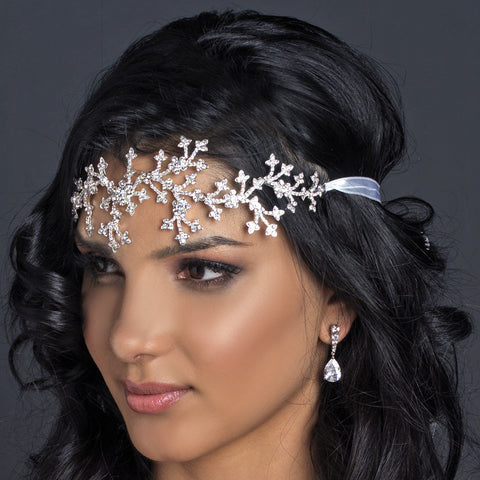 Silver Clear Rhinestone Floral Bridal Wedding Headband Headpiece 9602