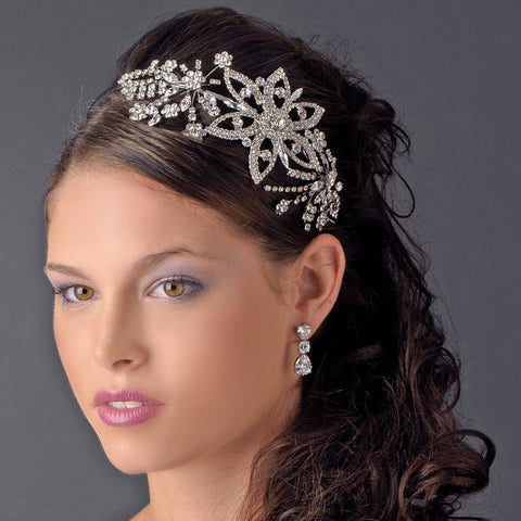 Vintage Style Silver or Antique Side Accent Bridal Wedding Headband HP 9997