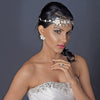 Beautiful Silver & Gold Crystal, Porcelain & Pearl Bridal Wedding Jewelry Set 1015