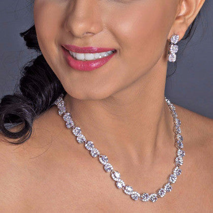 Rhodium Clear CZ Oval Swirl Bridal Wedding Jewelry Set 9591